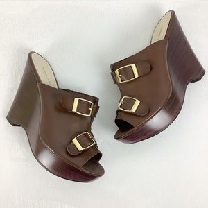Nine West Brown Wedges With Gold Buckles Size 8